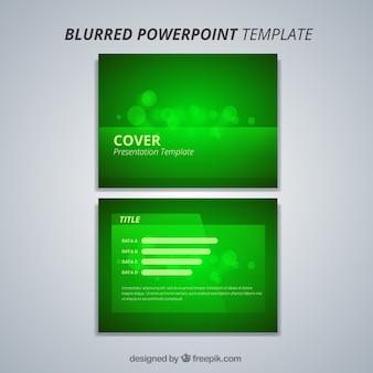 ボケ効果を持つグリーンパワーポイントテンプレート