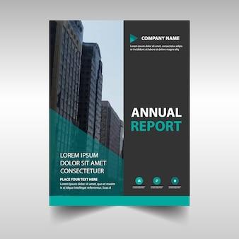 Зеленый креативный шаблон ежегодного отчета об обложке книги