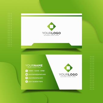 Green professional business card design template
