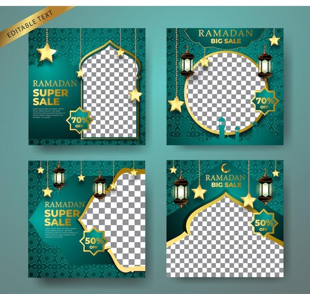 緑のプロモーションキット販売バナーテンプレート。ソーシャルメディアの投稿、instagramの飾り、月、モスク、ランタンの背景