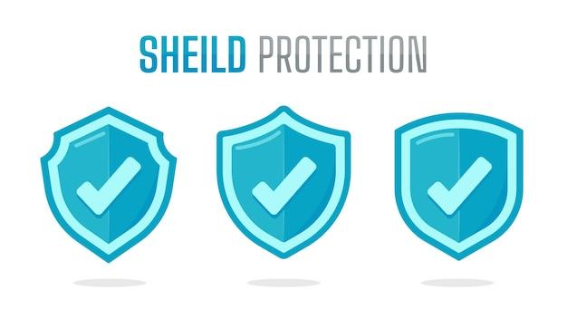 中央にプラス記号が付いた緑色の保護シールド。ウイルスからの保護の概念