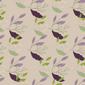 베이지 색 바탕에 녹색, 보라색, 갈색 잎 패턴