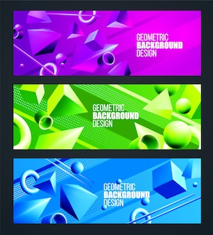 Green, purple, blue background set with volumetric 3d figures triangle and square