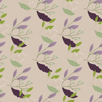 Green, purple and brown leaves pattern on beige background