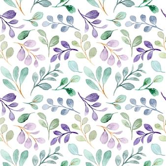 Green purple leaves watercolor seamless pattern