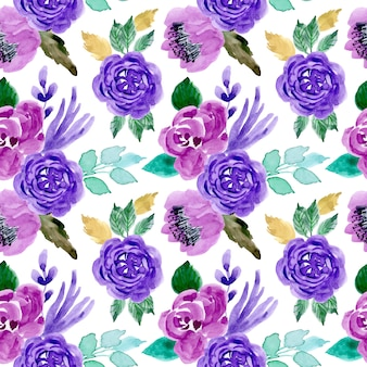 Green purple pattern with watercolor flower