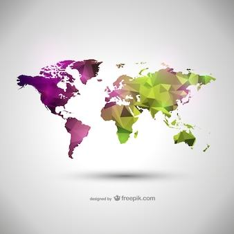 Green and purple polygonal world map