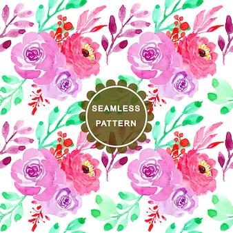 녹색 보라색 수채화 꽃 원활한 패턴