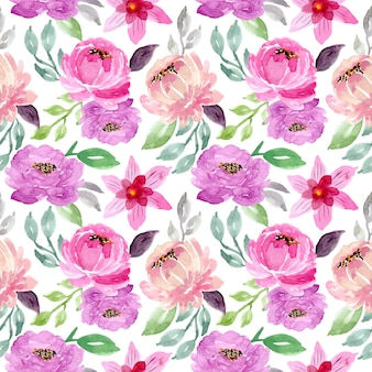 Green purple watercolor floral seamless pattern