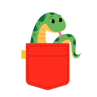 A green python snake sits in clothes a cute african animal peeps out of the bag