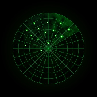 Green radar isolated on dark. military search system. hud radar display. vector illustration.