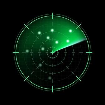 暗い背景に分離された緑のレーダー