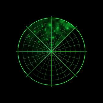黒の背景に緑のレーダー。軍事捜索システム。レーダーディスプレイ。