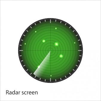 白い背景の上の緑のレーダー画面