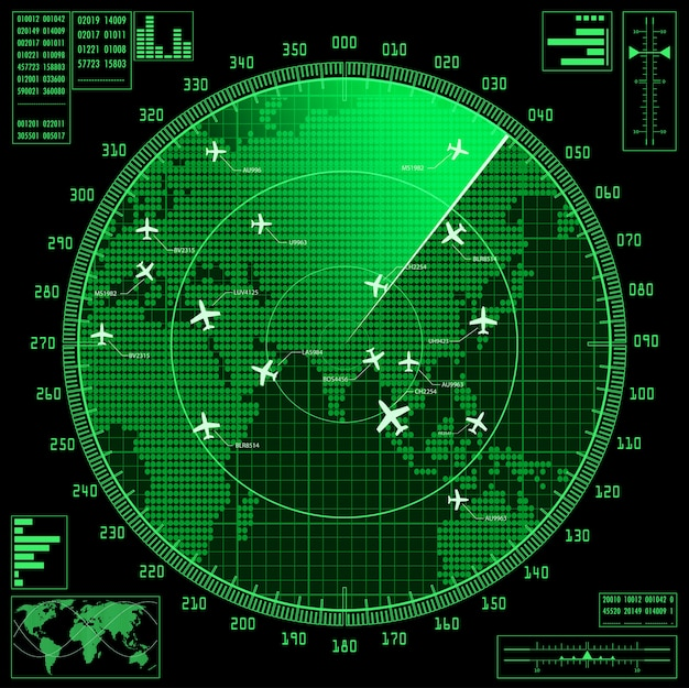 Green radar screen with planes and world map.