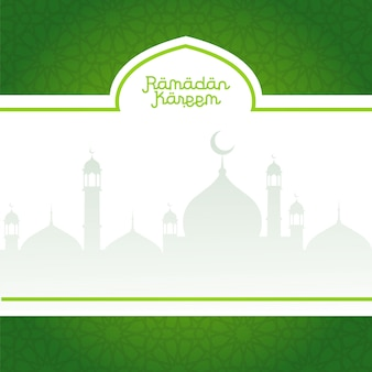 Green ramadan kareem background with mosques silhouettes