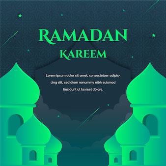 Green ramadan kareem lettering with mosque