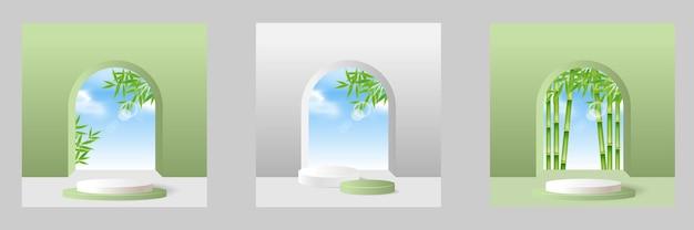 正方形の背景に製品を表示するための緑のリアルな笹の葉の木の表彰台ステージ台座