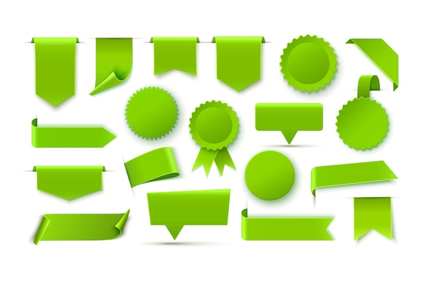 Green realistic blank tags isolated on white background vector illustration