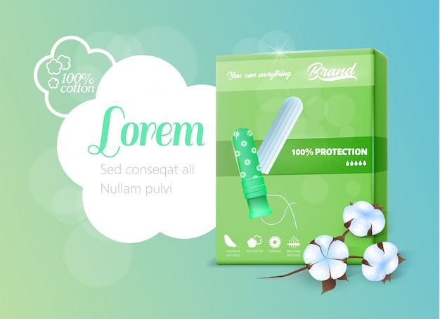 Green realistic pack with hygienic tampon banner