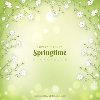 Green realistic spring background