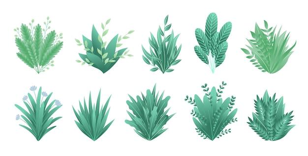 Зеленые реалистичные весенние травы