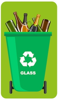 Green recycle bins with recycle symbol on green background