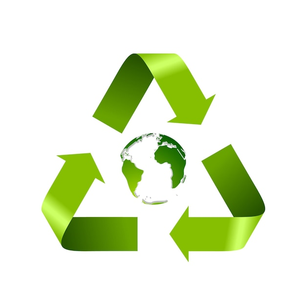 Green recycle logo and globe isolated on white. vector background