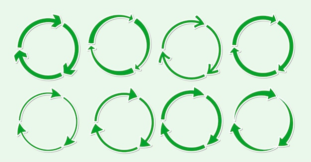 緑のリサイクルラウンドアイコンステッカーセット、フラットシンボル回転矢印エコ回転リサイクル資源を使用して