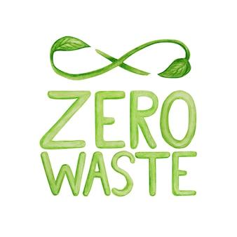 Зеленый рециркулированный цикл зеленые листья, знак бесконечности акварель рисованной иллюстрации, изолированные на белом фоне. экологический дизайн. переработанный экологический безотходный образ жизни. recycle reuse уменьшить концепцию