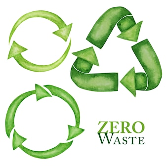 Green recycled green arrows icon set. watercolor style. ecological design recycle reuse reduce concept. recycled eco zero waste lifestyle.