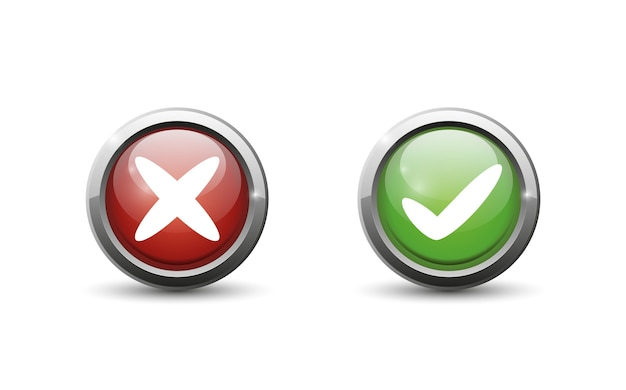 Green and red button on white background.
