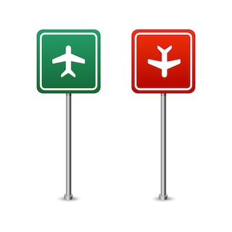 Green and red highway sign with a plane board. isolated vector illustration on white background.
