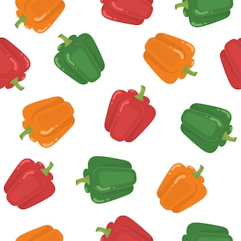 Green red and orange peppers seamless pattern healthy vegetable background organic food