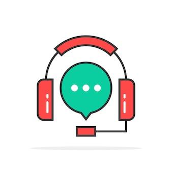 Green red outline hotline logo. concept of crm, ui, faq, secretary, dispatcher, retail sale, user interface, live work. flat style trend modern logotype design vector illustration on white background