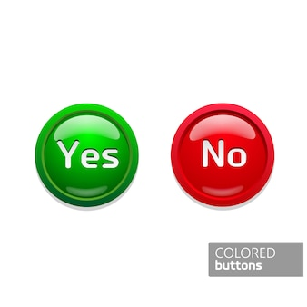 Green and red round buttons icons in color yes and no. glass buttons on black background