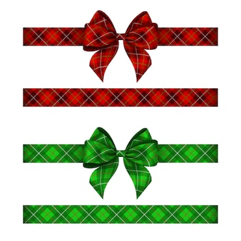 Green and red tartan bows with ribbons