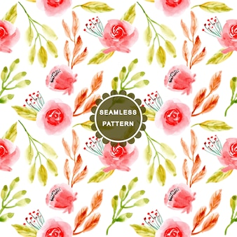 Green and red watercolor flower seamless pattern