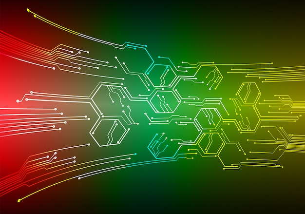 緑赤黄サイバー回路の将来の技術の背景