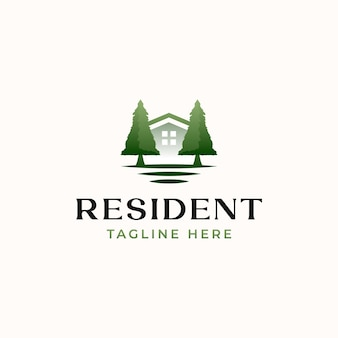 Шаблон логотипа зеленый резидент, изолированные на белом фоне Premium векторы