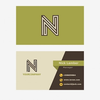 Green retro business card with n letter