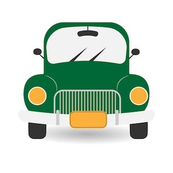 Green retro car green pickup truck with headlights