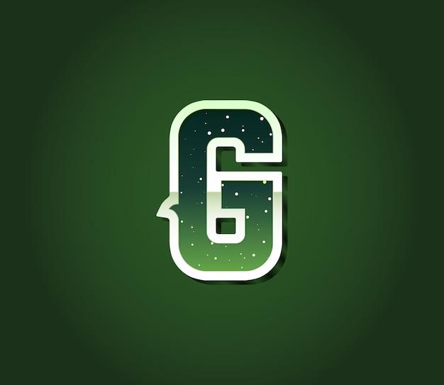 편지 안에 별이있는 녹색 복고풍 공상 과학 글꼴. 알파벳