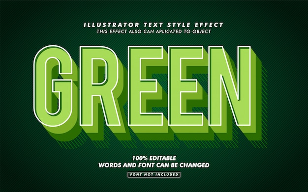 Green retro text style effect mockup