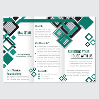 Green rhombus color business three fold brochure template