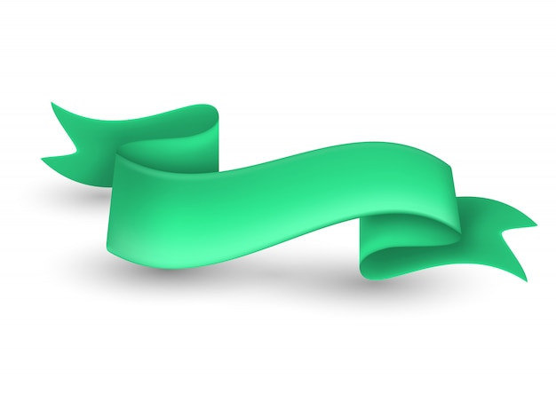 Green ribbon banner on background