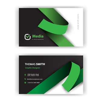 Green ribbon minimal business card