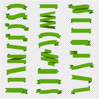 Green ribbon set in  transparent background