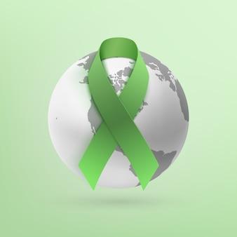 녹색 배경에 고립 된 흑백 지구 아이콘 녹색 리본.