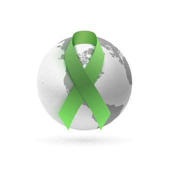 Green ribbon with monochrome earth icon isolated on white background. poster, greeting card or brochure template.